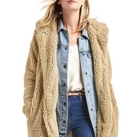 Cozy sherpa hooded coat | Gap