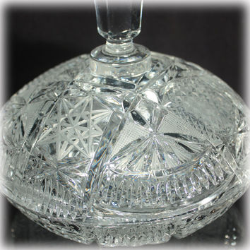 Candy Dish with Lid, Lead Crystal, Etched Candy Dish, Cut Crystal, Covered Dish