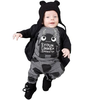 New 2017 Autumn and Spring Little Monsters Baby Boy Clothes Newborn Baby Girl Clothing Sets Long Sleeve Infant 2pcs Suit