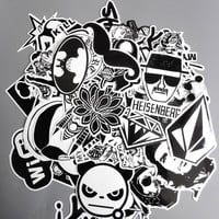 TD ZW 60pcs/lot Mixed Stickers Toy Styling Black And White DIY Vinyl Laptop Luggage Snowboard Phone Car Sticker Decal