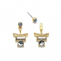Blue Opal and Crystal Bar Front Back Earrings | Capwell