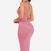 Coral Deep V-back Maxi Dress