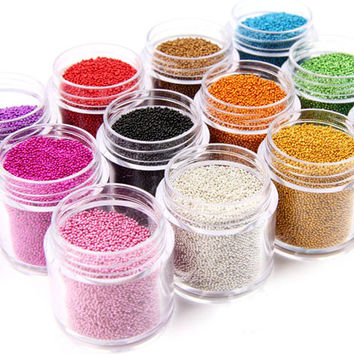 12 pots 12-color Colorful Caviar Manicures Pedicures Beauty Micro Tiny Beads Nail Art Stickers