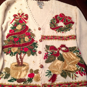 Ugly Christmas Sweater, Men's Or Woman's Size large, Knit 1990's Button Down Cardigan, Amazing Detail, Tacky!!
