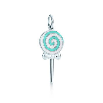 Tiffany & Co. - Lollipop charm in sterling silver with Tiffany Blue® and white enamel finish.