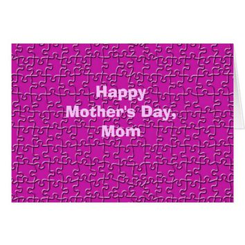 Happy Mother's Day, Hot Pink Jigsaw Puzzle Card
