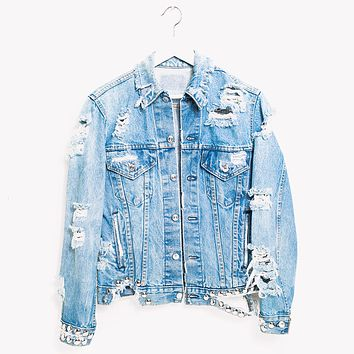 One a Kind Vintage Rockstar Jeans Denim Jacket