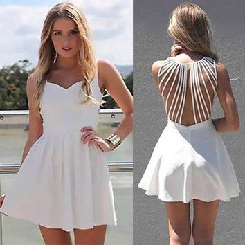 Square Neck Sleeveless Straps Hollow Out Dress