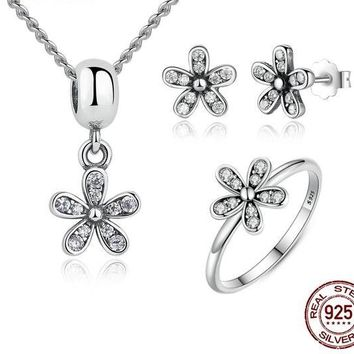 925 Sterling Silver Jewelry Set Dazzling Daisy & Clear CZ Jewelry Set