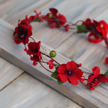 Music Festival Headband, Red Wedding Crown, Red Hair Wreath, Red Bridal Crown, Red Wedding Halo, Red Boho CrownRed Woodland Crown