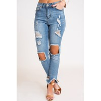 Tear It Up Distressed Jeans (Light Wash)