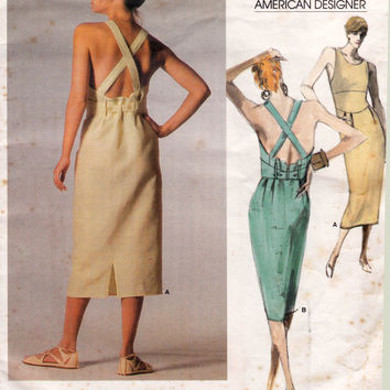 Calvin Klein 1980s Drp waist Backless Dress Vogue American Designer Vintage Sewing Pattern 1676 Size 16 Bust 36 UNCUT FF