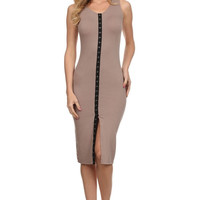 Sleeveless Solid Knit Sheath Dress - Nude
