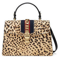 Gucci Sylvie leopard print top handle bag