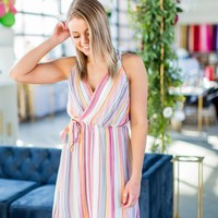 All I Have Striped Dress- Berry/Ocean