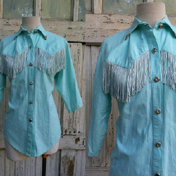 1980s Western Blouse / Lilia Smitty / Western Fringed Turquoise Collar Button Down Blouse / Size M