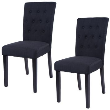COSTWAY SET OF 2 TUFTED WOOD ACCENT DINING CHAIR - GREY