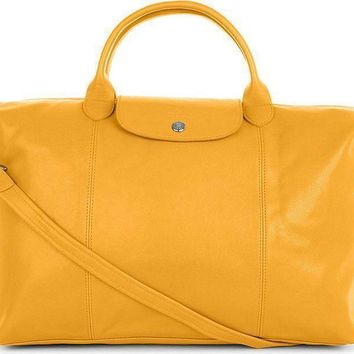 Longchamp Le Pliage Cuir Sunshine Leather Handbag Retails $565 Made in France