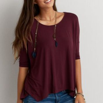 AEO Soft & Sexy Jegging T-Shirt , Deep Burgundy | American Eagle Outfitters
