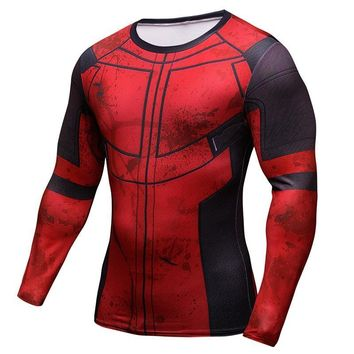 Deadpool Dead pool Taco Fun  3D Printed T-shirts Men Cosplay Costume Display Long Sleeve Compression Shirt Fit Fitness Clothing Tops Male AT_70_6