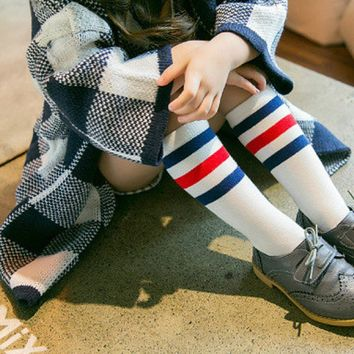 SHIPS FROM USA Girls Striped Knee High Socks SHIPS FROM USA