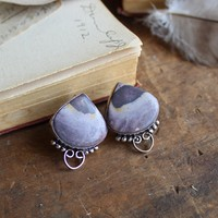 Porcelain Jasper Silvertone Earrings