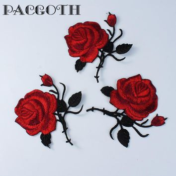 PACGOTH Bag Accessory Fabric Dome Seals Cabochon Craft Rose Flower Wine Red Woman's Bag Decorations Patch 85mmx 85mm 1 Piece