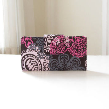 Handmade Fabric Wallet, Womens Long Wallet in Brown and Pink Paisley Floral - PREORDER