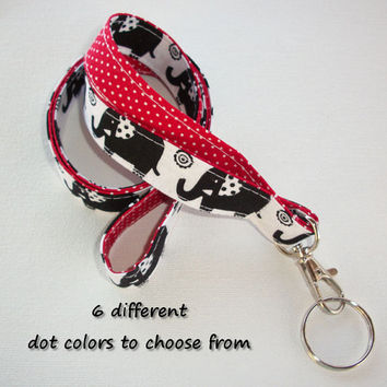 Lanyard  ID Badge Holder - Lobster clasp and key ring - design your own - black elephants -  red pin dots - two toned double sided