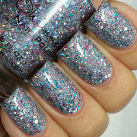 Hexy Bikini Textured Holograpolic Silver Nail Lacquer - 0.5 Oz Full Sized Bottle
