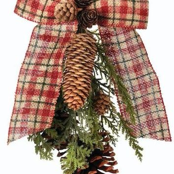 "Red Plaid Burlap Bow & Pine Cone Christmas Ornament - 12"" Long"