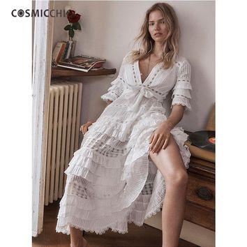 Cosmicchic Haute Couture Boho Women Maxi Dress Deep V Butterfly Sleeve Embroidery Lace Dress Hollow Out  Beach Long Dress LY23
