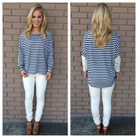 Navy Stripe Embroidered Elbow Patch Top
