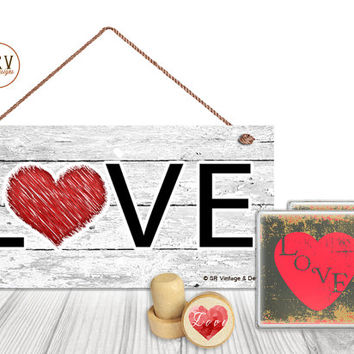 "Gift Set, 4 PC, LOVE Gift Set, Valentine's 5"" x 10"" Wood Sign, Two Drink Coasters, One Decorative Wine Stopper, Gift Package, Made To Order"