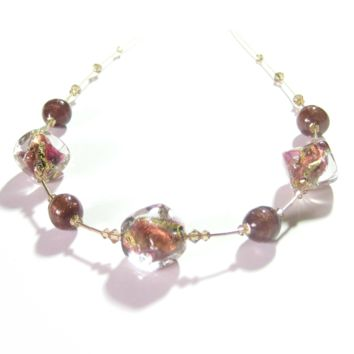 Murano Glass Chunky Pink Brown Nugget Gold Necklace