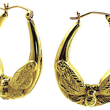 14K Gold Moth-Motif Hoop Earrings