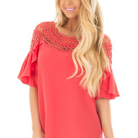 Coral Ruffle Top with Sheer Lace Detail