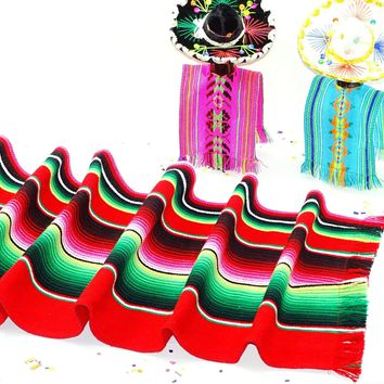 Red Mexican Table Runner, Made from Mexican Sarape fabric