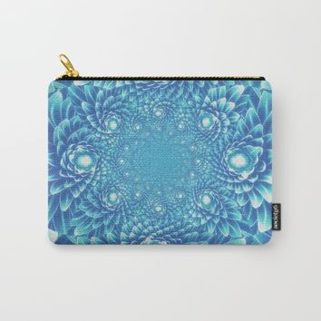 Fresh Modern Green Warp Cactus Pattern Fractal Art! Carry-All Pouch by Jeanette Rietz