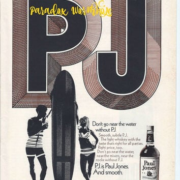 Vintage 1969 60's Paul Jones American Blended Whiskey Surfing Beach Board Wall Art Decor Man Cave
