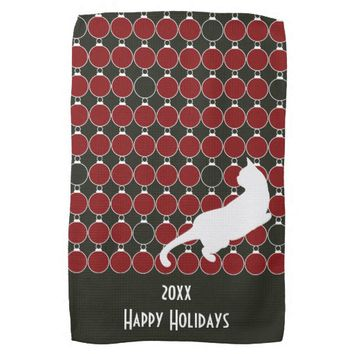 Red Christmas Ornament and Playful Cat Modern Chic Kitchen Towel