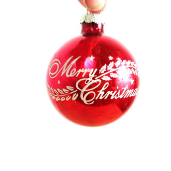 Vintage Shiny Brite / Glass Ornament / Merry Christmas Stencil / Red and White / Ball Ornaments / Christmas Ornaments / Mercury Glass