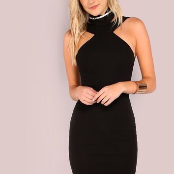 Black Halter Choker Neck Bodycon Dress