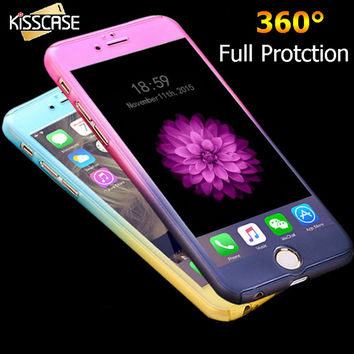 KISSCASE Luxury 360 Degree Full Body Protection Cases For iPhone 6 For iPhone 6S Plus Cover +Tempered Glass Gradient Accessories
