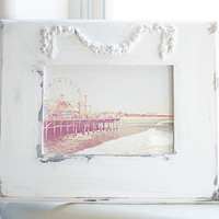 Super Chic White Shabby Painted 7x5 Frame Roses Swag Santa Monica Beach Photography Print California Los Angeles Venice