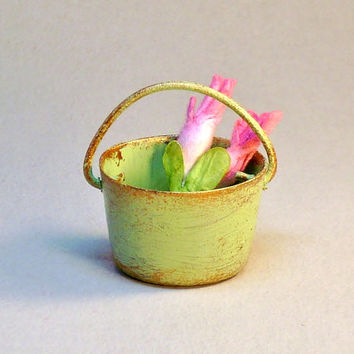 Miniature Green Country Style Metal Pail with Pink Flowers Fairy Garden Dollhouse Bucket