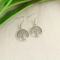 earrings-- tree of life pendant, antique silver charm earrings