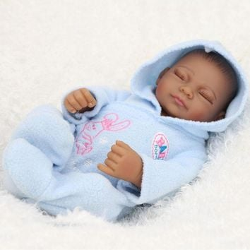 "11"" Reborn Baby Doll Soft Vinyl Silicone Lifelike Newborn Baby for Girl Christmas Birthday Gift Sky blue Color 28cm"