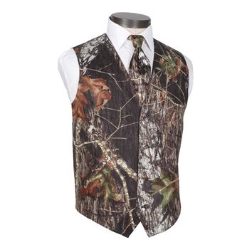 2017 Camo Mens Dress Wedding Vests Realtree Camouflage Slim Suit Vest Sleeveless Suit Jacket Outerwear Groom Vest (Wastcoat+Tie)