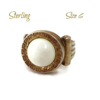 Sterling Silver White Cabochon Ring, Vintage Gold Plated Deco Style Ring, Size 6